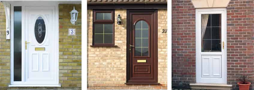 A range of uPVC doors in a variety of colours with gold detail